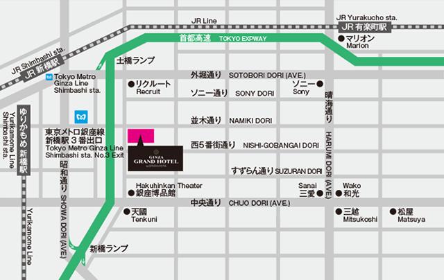 銀座グランドホテル周辺地図